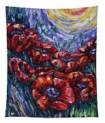 Impressionist Field Poppies Tapestry