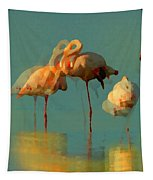 Impressionist Flamingo Abstract Tapestry by Shelli Fitzpatrick
