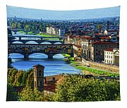 Impressions Of Florence - Long Blue Shadows On The Arno River Tapestry
