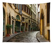 Impressions Of Florence - Walking On The Silver Street In The Rain Tapestry