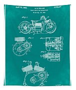 Indian Motorcycle Patent 1943 Green Tapestry