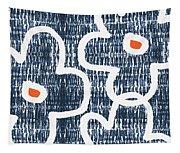 Indigo And White Jumbo Flowers- Art By Linda Woods Tapestry