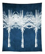 Indigo And White Palm Trees- Art By Linda Woods Tapestry by Linda Woods