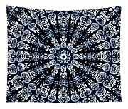 Indigo Flow Blue Kaleidoscope Tapestry