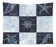 Indigo Nautical Collage Tapestry