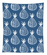 Indigo Pineapple Party Tapestry by Linda Woods