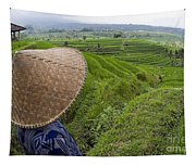 Indonesian Rice Farmer Tapestry
