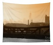 Industrial Foggy Chicago Skyline Tapestry