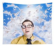 Insane Business Man With Busy Travel Schedule Tapestry
