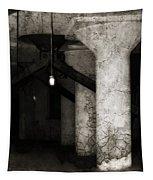 Inside Empty Dark Building With Light Bulbs Lit Tapestry