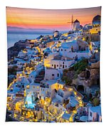 Oia Sunset Tapestry