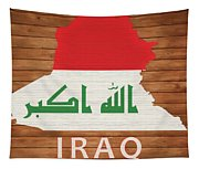 Iraq Rustic Map On Wood Tapestry