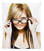 Isolated Sexy Girl Wearing Glasses On White Tapestry