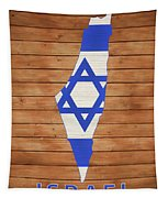 Israel Rustic Map On Wood Tapestry