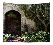 Italian Front Door Adorned With Flowers Tapestry