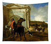 Italian Landscape With Horsemen By A Spring Tapestry