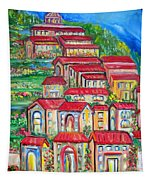 Italian Village On A Hill Tapestry