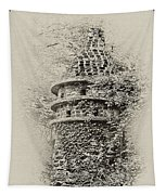 Ivy Covered Castle In The Woods Tapestry