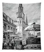 Jackson Square Scene New Orleans - Bw  Tapestry
