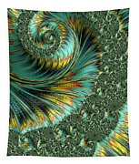 Jade And Yellow Fractal Spiral Tapestry