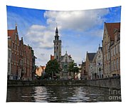 Jan Van Eyck Square With The Poortersloge From The Canal In Bruges Tapestry