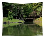 Japanese Garden Bridge Reflection Tapestry