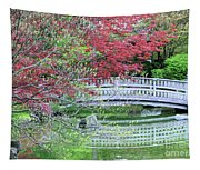 Japanese Garden Bridge In Springtime Tapestry