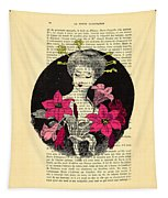 Japanese Lady With Cherry Blossoms Tapestry