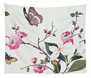 Japonica Magnolia And Butterflies Tapestry