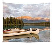 Jasper Lake Canoes Tapestry