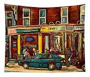 Java U Coffee Shop Montreal Painting By Streetscene Specialist Artist Carole Spandau Tapestry