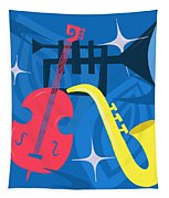 Jazz Composition With Bass, Saxophone And Trumpet Tapestry