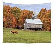 Jericho Hill Vermont Horse Barn Fall Foliage Tapestry