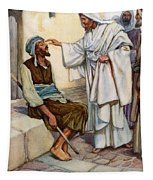 Jesus And The Blind Man Tapestry
