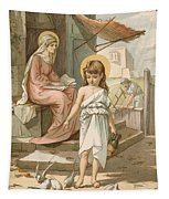 Jesus As A Boy Playing With Doves Tapestry