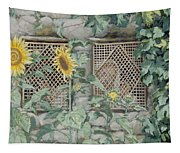 Jesus Looking Through A Lattice With Sunflowers Tapestry