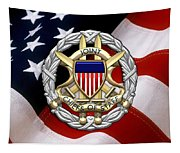 Joint Chiefs Of Staff - J C S Identification Badge Over U. S. Flag Tapestry