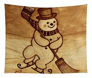 Joyful Snowman  Coffee Paintings Tapestry