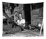 Jungle Crafts Bw Tapestry