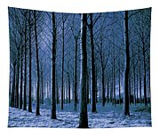 Jungle Trees In Blue  Tapestry