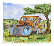 Junk Car And Tree Tapestry