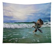 Juvenile Eagle At Sea Wildlife Art Tapestry