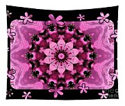 Kaleidoscope 1 With Black Flower Framing Tapestry