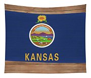 Kansas Rustic Map On Wood Tapestry