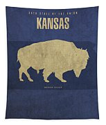 Kansas State Facts Minimalist Movie Poster Art Tapestry