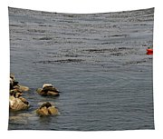 Kayakers And Seal Lions Tapestry