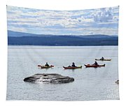 Kayakers Paddle To Fishing Cone On Yellowstone Lake Tapestry