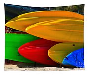 Kayaks On The Beach Tapestry