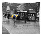 Kendall Square Rainy Day Cambridge Ma Blue And Yellow Tapestry