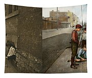 Kids - Cincinnati Oh - A Shady Game 1908 - Side By Side Tapestry